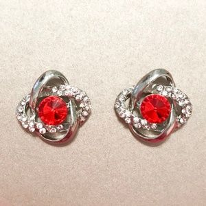 Red Gem Knotted Earrings